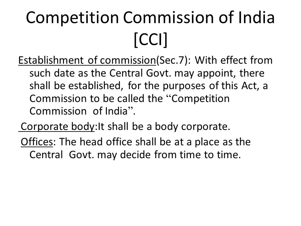 Competition Commission of India [CCI]